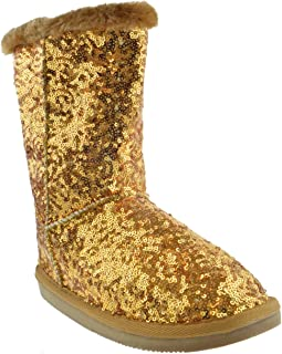 Bling Womens Sequin Faux Fur Shearling Boots