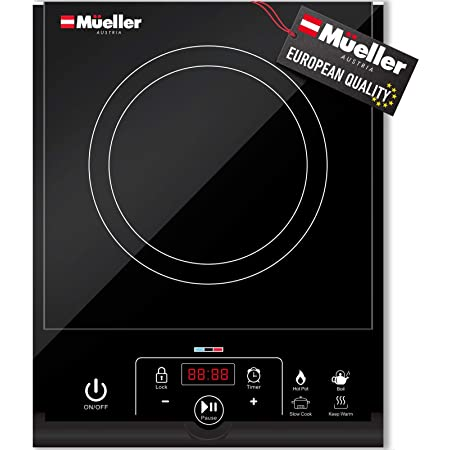 Mueller RapidTherm Portable Induction Plate Cooktop Countertop Burner 1800W, 8 Temp Levels, Timer, Auto-Shut-Off, Touch Panel, LED Display, Auto Pot Detection, Child Safety Lock, 4 Preset Programs