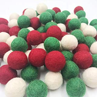Christmas Felt Balls Red Green White 80pc 2cm DIY Felted Pom Pom Garland Wool Balls