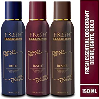 Fresh Essential No Gas Perfume Body Spray, 150 ml (Desire, Ignite, Bold - Pack of 3)