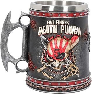 Nemesis Now Five Finger Death Punch Tankard 15cm Mug Black, Resin w/Stainless Steel Insert,