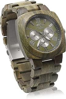 Angie Wood Creations Green Sandalwood Men's Watch with Green Sandalwood Bracelet