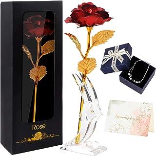 Rose Eternelle,Cadeau Fete des Meres,Feuille d'Or Rose avec Bracelet Carte De Vœux Boîte-Cadeau, Meilleur Cadeau pour Peti...