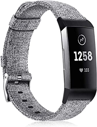 Fintie Woven Bands for Fitbit Charge 3, Soft Nylon Fabric Adjustable Sport Wrist Band Replacement Strap for Fitbit Charge 3 / Charge 3 SE Fitness Activity Tracker Women Men, Grey