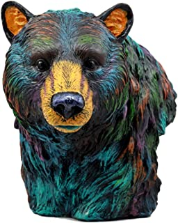 Atlantic Collectibles Wild & Free Colorful North American Brown Bear Bust Figurine 7