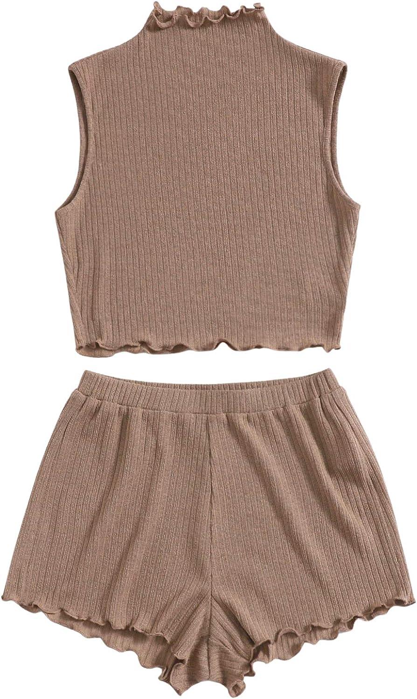 SheIn Women's Plus Frill Trim Loungewear Tank Top and Elastic Waist Shorts Set