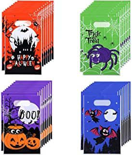 STOBOK 120pcs Halloween Candy Bags | 4 Patterns Goody Bags with Handles,Trick or Treat Bags Snacks Gift Bags for Halloween...