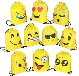 10 Pack Emoji Bolsas de Cuerdas, Encantador Emoji Cordón Dibujos Animados Mochila Bolsas, Gimnasio Backpack para Niños Niñas Fiesta