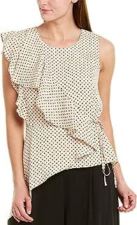 Women's Floral Dot Asymmetric Ruffle Top