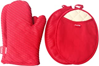 Honla Pot Holders and Oven Mitts Gloves with Silicone Printed,2 Hot Pads and 2 Potholders Set,4 Piece Heat Resistant Kitchen Linens Set for Cooking,Baking,Grilling,Barbecue,Red
