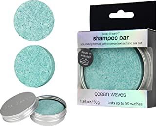 BODY & EARTH Solid Shampoo Bar, Hair Soap Conditioner with Travel Tin Containers - Enriched with Natural Essential Oils Benefit for Dry, Oily and Damaged Hair, Ocean Scent, 1.76 Oz