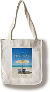 Lantern Press Cocoa Beach Pier, Florida - I Need Vitamin C - Beach Chairs and Umbrella (100% Cotton Tote Bag - Reusable)