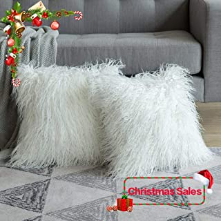 MIULEE Pack of 2 Decorative New Luxury Series Style Christmas White Faux Fur Throw Pillow Case Cushion Cover for Sofa Bedroom Car 20 x 20 Inch 50 x 50 cm