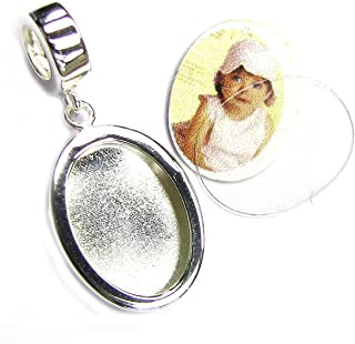 Sterling Silver Photo Picture Frame Dangle Family Bead for European Charm Bracelets