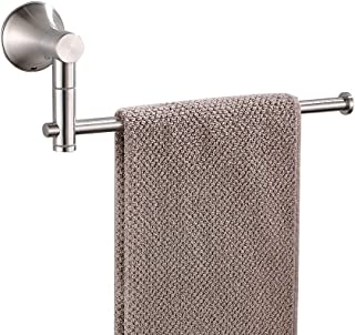 BESy SUS304 Stainless Steel Single Hand Towel Bar 10 Inch with Swing Out Arm, Hotel Style Towel Holder Ring for Bathroom and Kitchen, 360 Degree Rotate, Wall Mounted with Screws, Brushed Nickel Finish