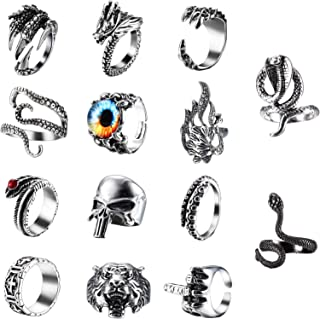 CASSIECA 14 delar vintage punk ringar för män gotisk ring drake klo ring bläckfisk ring kobra ring orm ringar skalle ring ...