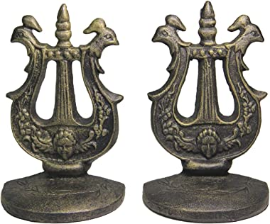 Via Moi Farmhouse Cast Iron Decorative Bookends for Heavy Books Book Ends Decorative for Bookshelf Book Stoppers Bookend Book