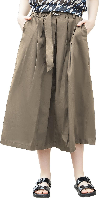 Chouyatou Women's Belt Stylish Elastic Waist Perfect Flare Pleated Midi Skirt Pocket