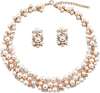 94623214fe033c Shining Diva Fashion Jewellery Pearl Necklace Set with Earrings for Women  and Girls (Golden)