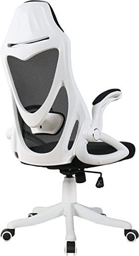 BERLMAN Bürostuhl Schreibtischstuhl mit einstellbare Lordosenstütze und klappbaren Armlehne, Drehstuhl hohe Rücklehne Computerstuhl, Chefsessel bis…