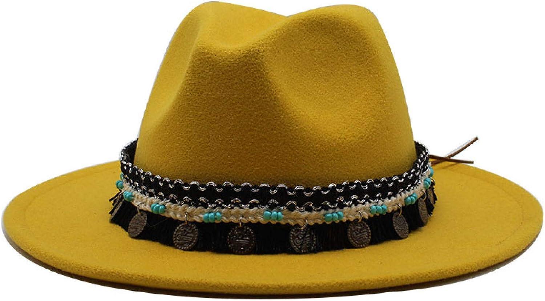 Womans British Faux Felt Fedora Stylish Western Cowboy Hat Tassel Panama Hat Gangster Outback Hat
