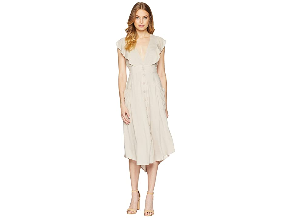 Adelyn Rae Kelsey Woven Button Up Dress (Sand) Women