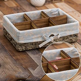 Cesta de almacenamiento de escritorio azul cesta de almacenamiento de mimbre de control remoto cesta de almacenamiento de artículos pequeños (Size : Big six grid)