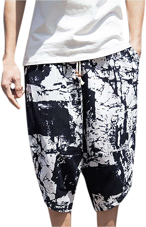 miqiqism Mens Capri Long Shorts Below Knee Loose Fit Elastic Retro Drawstring Tapered Casual Linen Shorts