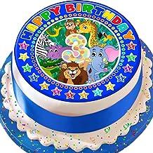 Cannellio Cakes 3Rd Birthday Blue Jungle Animals Star Border 7.5 Inch Precut Edible Icing Cake Topper Decoration