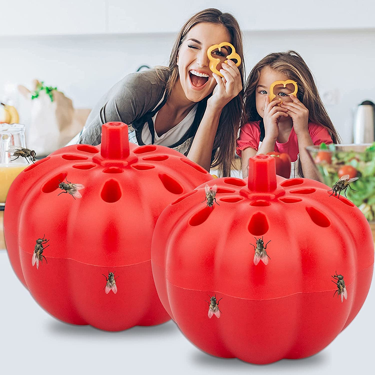 Allinall Fruit Fly Trap,Effective Gnats Trap Indoor Fruit Fly Killer,Easy to Use & Safe Non-Toxic Lure Fly Catcher and Gnat Killer for Indoor/Home/Kitchen/Dining Areas Pumpkin Shape 2 Pack Frosted