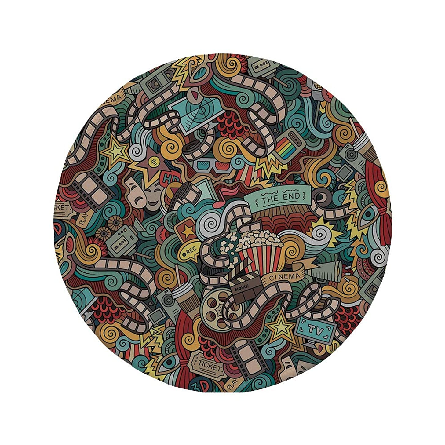 Non-Slip Rubber Round Mouse Pad,Doodle,Cinema Items Combined in an Abstract Style Popcorn Movie Reel The End Theatre Masks Decorative,Multicolor,11.8