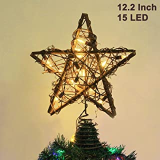 Twinkle Star Christmas Star Tree Topper, Rustic Rattan Treetop with 15 LED Lights Christmas Tree Holiday Xmas Party Decorations, 12.2 Inch (H)