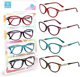 Reading glasses for Women - Pack of 4 - Womens Cute Comfortable Stylish Designer Readers Glasses - Bright Colors