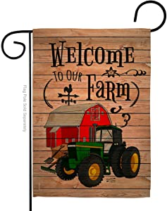 Angeleno Heritage Primitive Welcome to Our Farm Garden Flag Country Living Western Barn American Rustic Cowboy Rural Ranch Small Decorative Gift Yard House Banner Double-Sided Made in USA 13 X 18.5