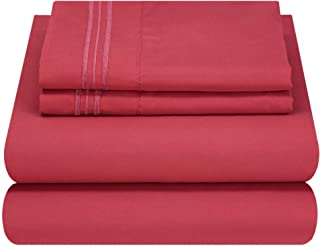 Mezzati Queen Size Sheets Set - Soft and Comfortable 1800 Prestige Collection - Brushed Microfiber Bedding (Burgundy, Queen Size)