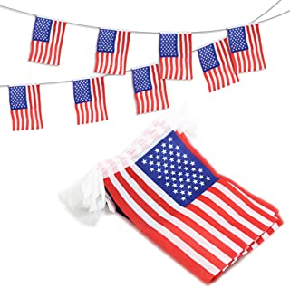 Anley USA American String Pennant Banners, Patriotic Events 4th of July Independence Day Decoration Sports Bars - 33 Feet 38 Flags