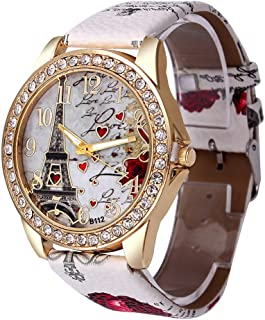 Women's Wrist Watch Vintage Paris Eiffel Tower Crystal Leather Quartz Wristwatch Best Gift