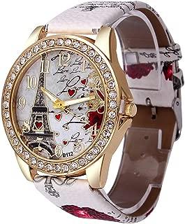 Women's Wrist Watch Vintage Paris Eiffel Tower Crystal Leather Quartz Wristwatch Best Gift