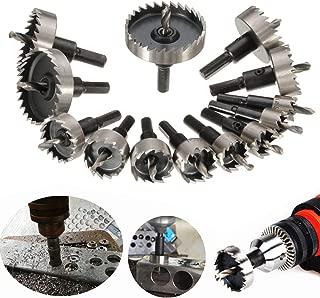 DRILLPRO 13Pcs Hole Saw Kit, HSS Drill Bit Hole Saw Bit Set for Metal, Stainless, 5/8