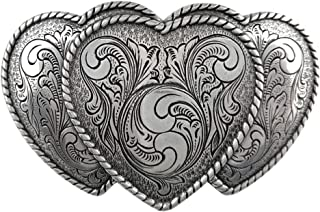 Antique Silver Finish Triple Hearts Ladies' Cowgirl Belt Buckle