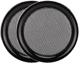 Zopsc 2PCS 2 inch Elegant/&Compact Stereo Speaker Mesh Cover Shatter Resistant Decorative Steel Mesh Circle Car Speaker Protective Cover Gold Plus 4 Screws