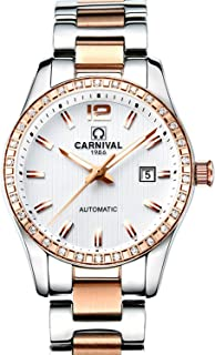 CARNIVAL Womens Automatic Machine Rose Gold Stainless Steel Sapphire Waterproof Women's White Watch