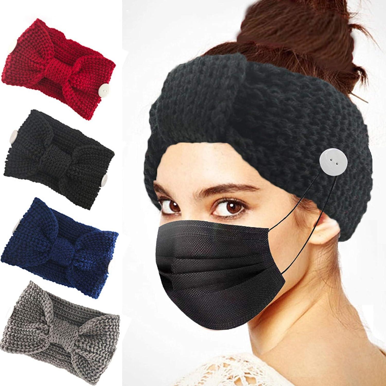YEZININHAO Headbands for women - Women Winter Knit Ear Warmer Headband with Buttons Crochet Knotted Wide Headwrap