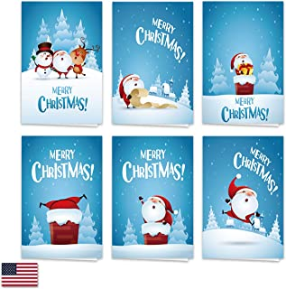 Toodro 36 Pack Cute Cartoon Merry Christmas Cards, 6 Design and 6 of Each Design with 36 White Envelopes