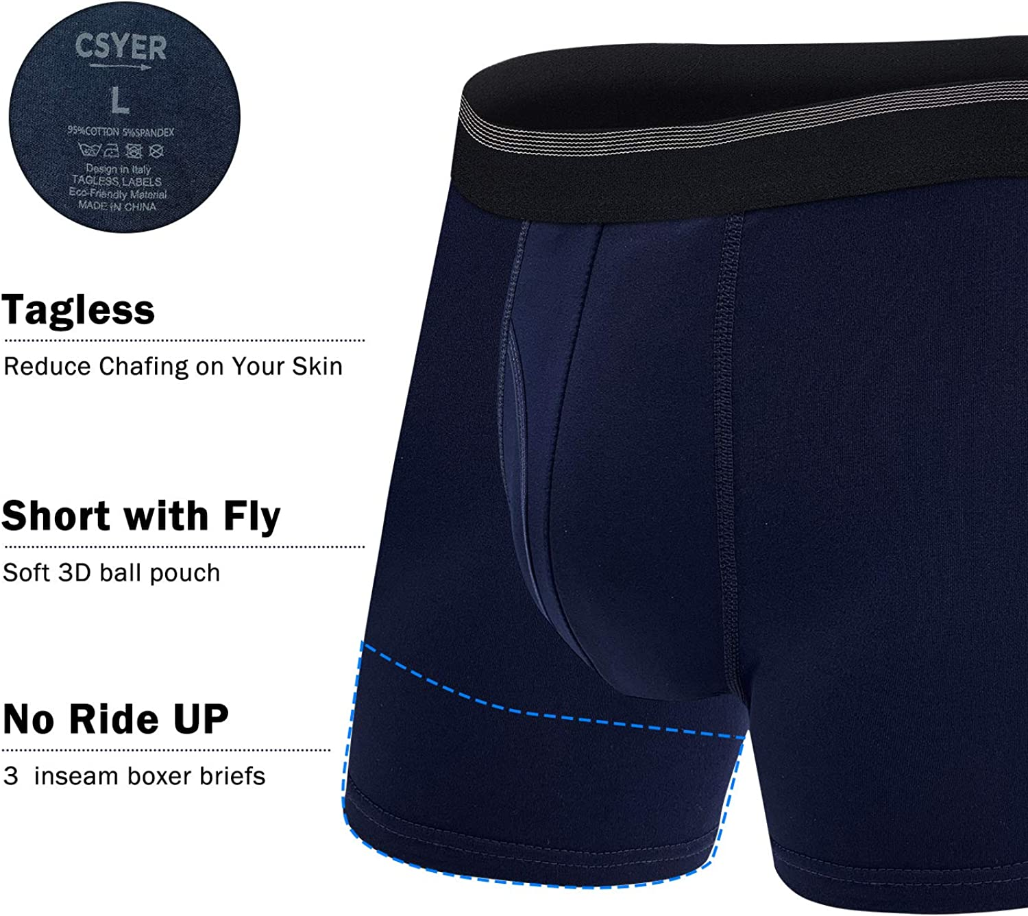 Mens Boxer Briefs Cotton Breathable Comfortable Sport No Ride-up Regular Leg Underwear 5 Pack (B:5 Pairs Multi Color(fly), l)