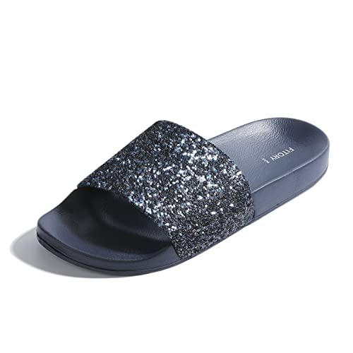 7b74ac378 FITORY Women Sliders Glitter Sparkly Slippers Summer Flat Sandals Mules for  Ladies Indoor/Outdoor Size