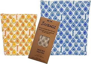 Beeswax Wrap Storage Bag by BeeBAGZ, Reusable Food Storage Bags, Pack of 2, Plastic Free Biodegradable Food Wrap Alternati...