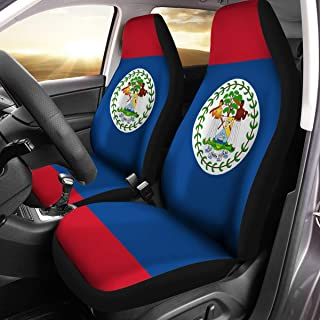 VTH Global Belizean Coat of Arms Belize Flag Car Seat Covers Set of 2 Size Universal Fit