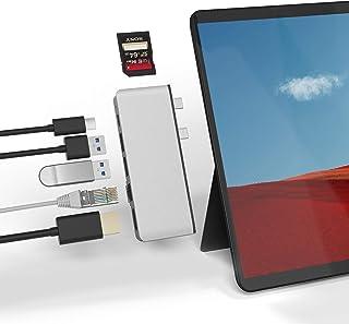 Rytaki Microsoft Surface Pro X 専用ハブ 、高解像度4K@30Hz HDMIポート+ 1000 Mbps LANネット接続ポート+ 2つのUSB 3.0ポート+USB C ポート + SD/Micro SD(TF)...
