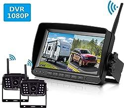 FHD 1080P Digital Wireless Dual Backup Camera 7'' DVR Monitor Kit Split Screen for Trailer/RV/Truck/Camper Rear/Side/Front View Camera Night Vision IP69K Waterproof Driving/Reversing Use